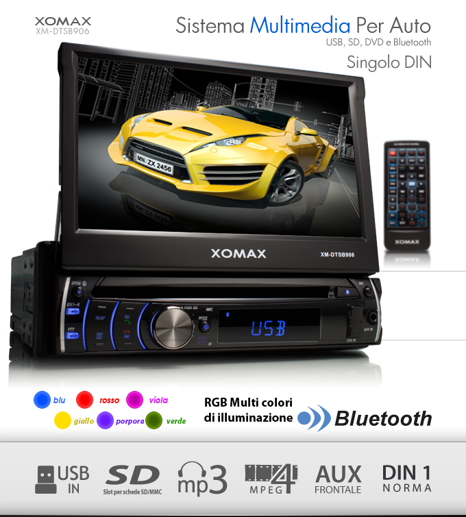 autoradio bluetooth 7 18cm touchscreen lettore dvd cd usb. Black Bedroom Furniture Sets. Home Design Ideas