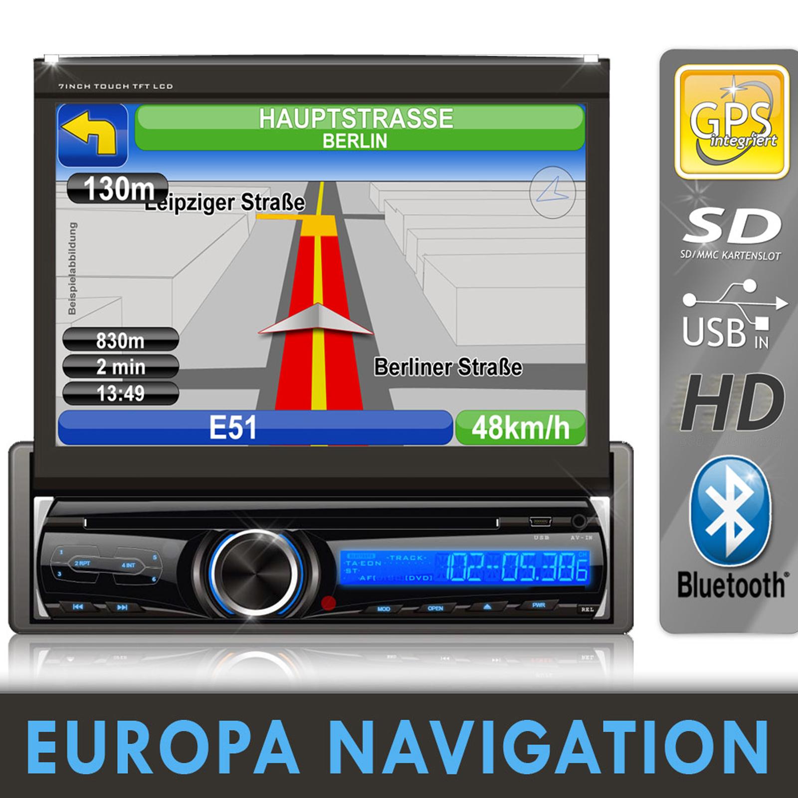 bluetooth 7 bildschirm autoradio mit dvd cd navigation. Black Bedroom Furniture Sets. Home Design Ideas