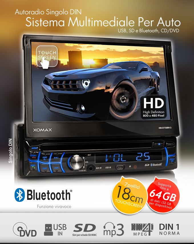 autoradio con touchscreen bluetooth lettore dvd cd usb sd. Black Bedroom Furniture Sets. Home Design Ideas