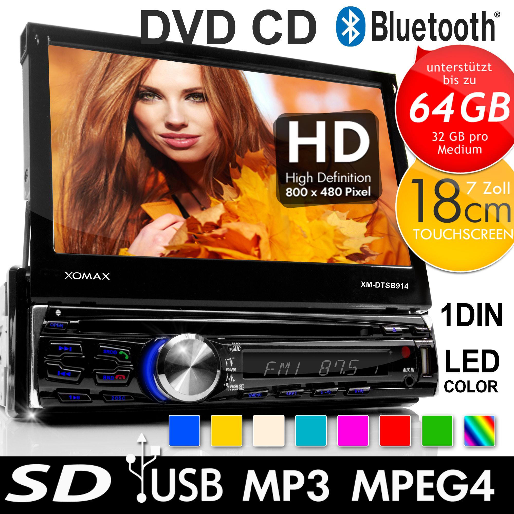 xomax xm dtsb914 autoradio bluetooth 18cm touchscreen dvd. Black Bedroom Furniture Sets. Home Design Ideas