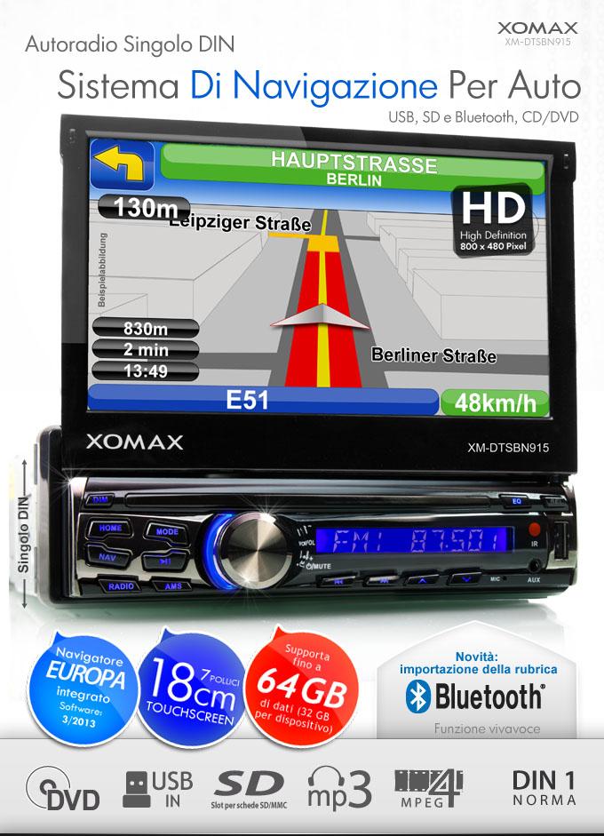autoradio gps navigatore bluetooth 7 18cm touchscreen dvd. Black Bedroom Furniture Sets. Home Design Ideas