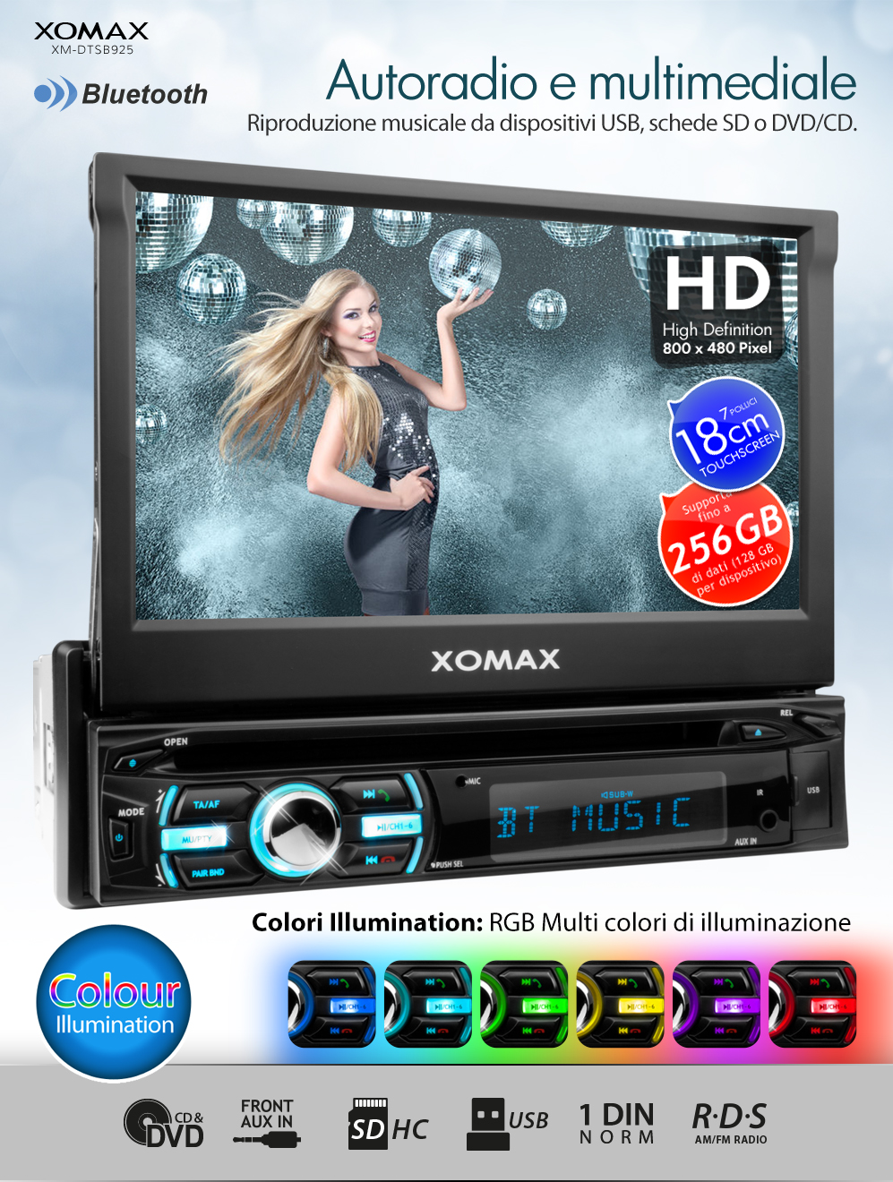 autoradio con bluetooth 18cm touchscreen dvd cd player usb. Black Bedroom Furniture Sets. Home Design Ideas