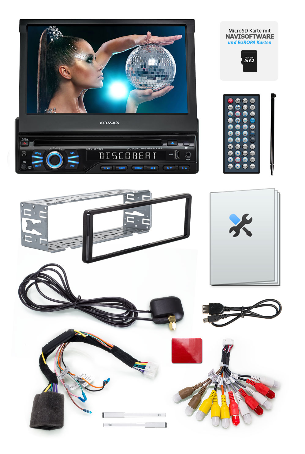 autoradio mit navigation gps touchscreen bildschirm. Black Bedroom Furniture Sets. Home Design Ideas