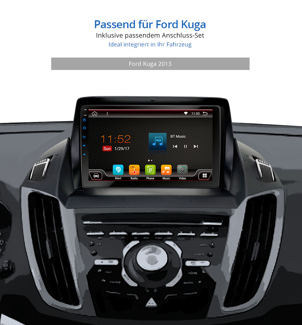 autoradio mit android 6 0 1 2gb passend f r ford kuga 2013. Black Bedroom Furniture Sets. Home Design Ideas