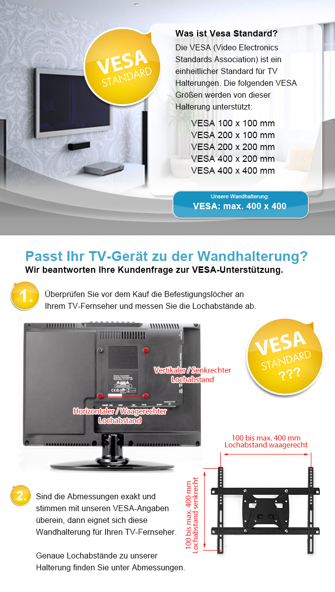 tv wandhalterung wand halterung vesa 100 200 400 fernseher monitor led lcd 42 ebay. Black Bedroom Furniture Sets. Home Design Ideas