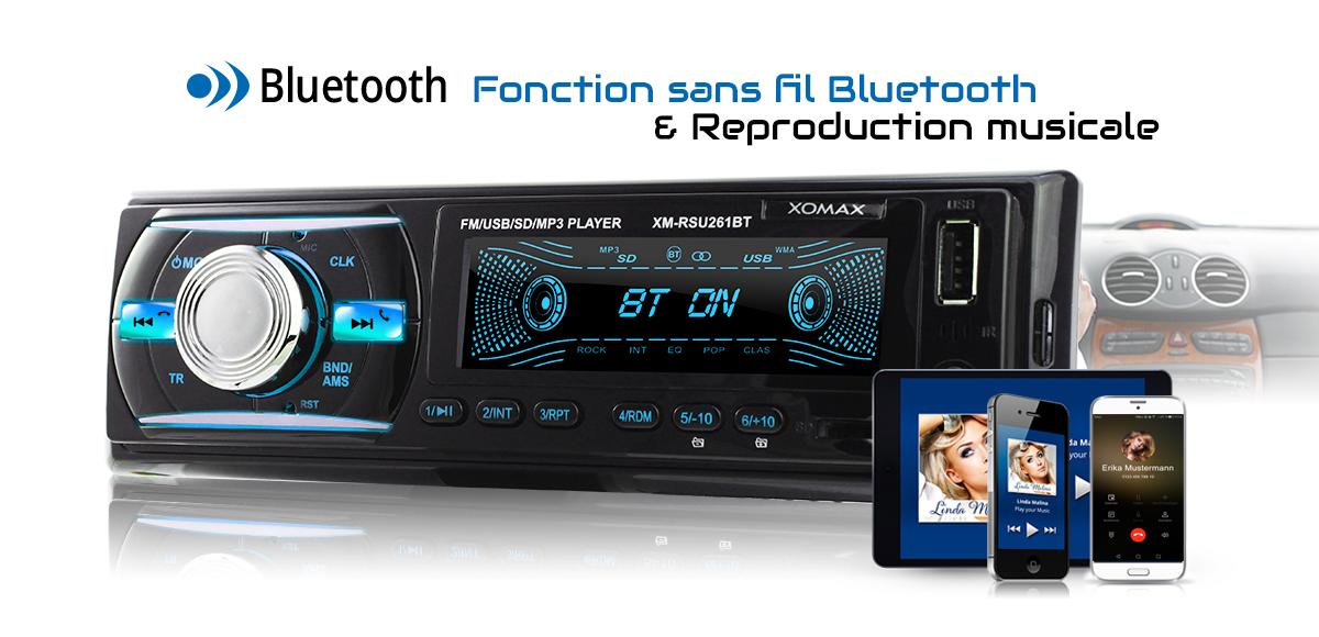 autoradio avec bluetooth usb sd aux mp3 wma 4x60w 1din tagsid3 fm without cd ebay. Black Bedroom Furniture Sets. Home Design Ideas