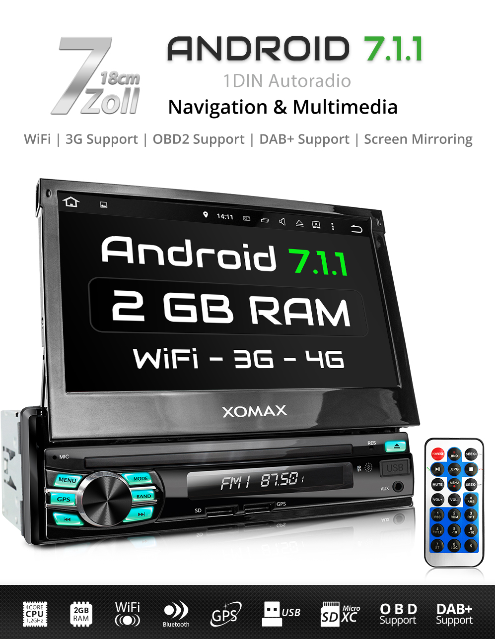 autoradio mit android 7 1 1 4core 2gb ram navi gps. Black Bedroom Furniture Sets. Home Design Ideas