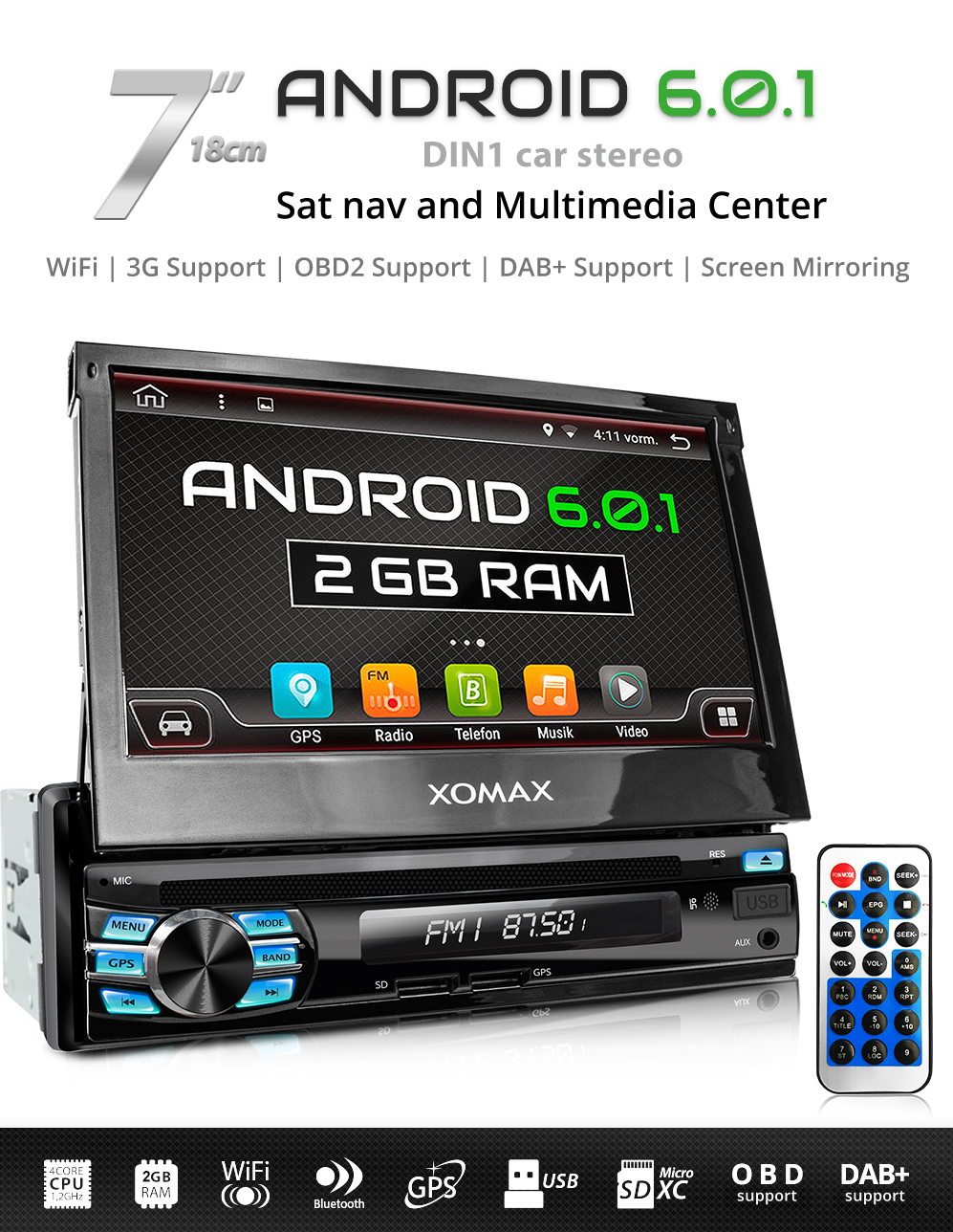 car stereo radio system with android 6 0 1 gps navigation. Black Bedroom Furniture Sets. Home Design Ideas
