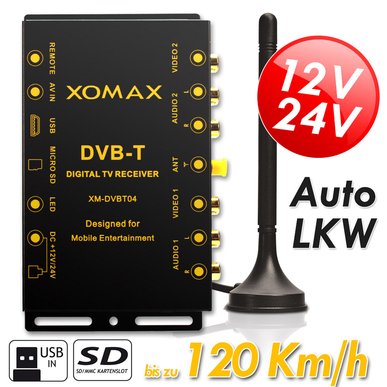 auto kfz einbau dvb t receiver box tuner dvbt bis 120 km h. Black Bedroom Furniture Sets. Home Design Ideas