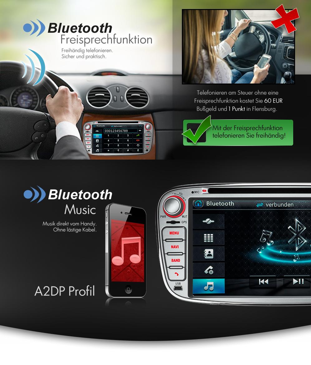 autoradio f r ford mit navi gps navigation bluetooth dvd. Black Bedroom Furniture Sets. Home Design Ideas