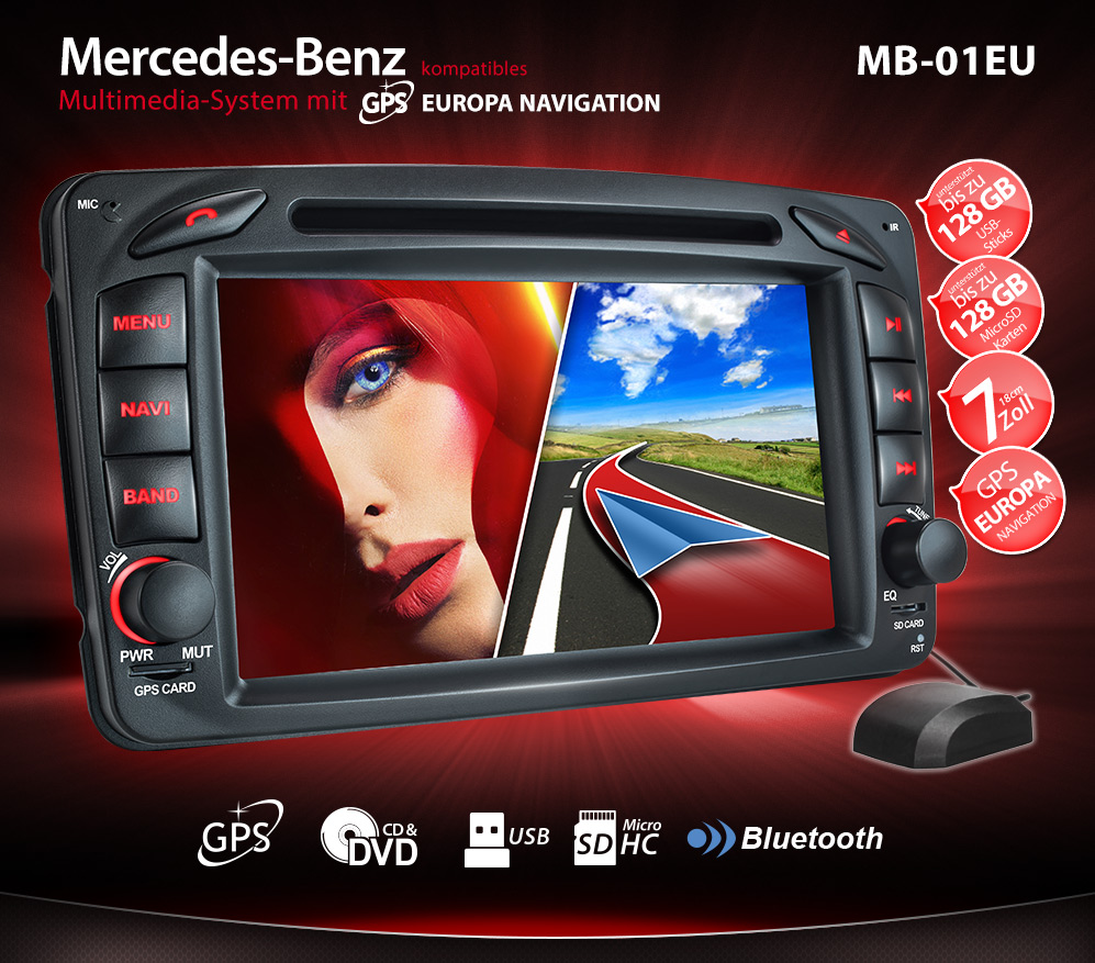 autoradio f r mercedes c klasse w203 mit navi gps. Black Bedroom Furniture Sets. Home Design Ideas