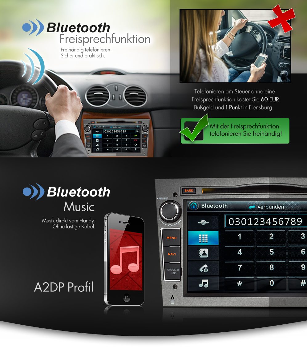 autoradio f r opel mit navi gps navigation bluetooth dvd cd usb sd doppel 2din ebay. Black Bedroom Furniture Sets. Home Design Ideas