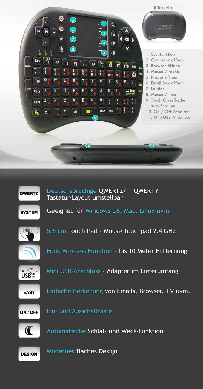 hdmi android 4 stick funk wireless tastatur touch. Black Bedroom Furniture Sets. Home Design Ideas