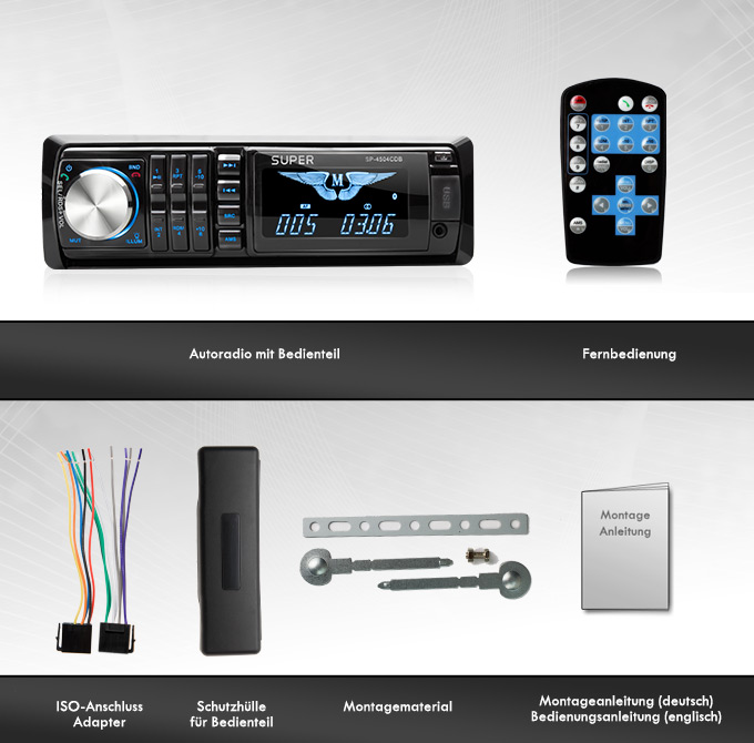 autoradio mit bluetooth cd player usb sd 64gb mp3 aux rds. Black Bedroom Furniture Sets. Home Design Ideas