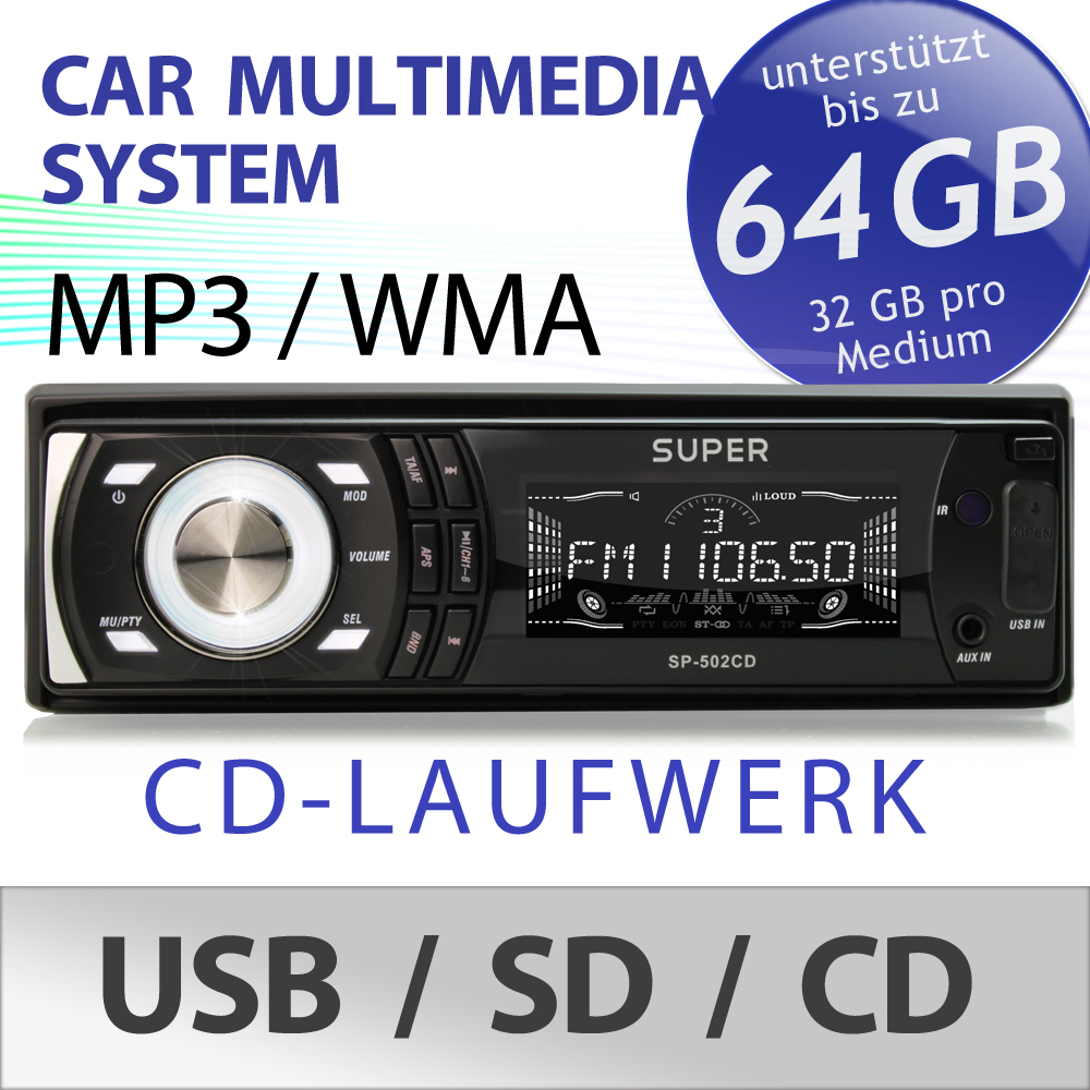 mp3 autoradio mit cd player receiver usb sd sdhc aux in. Black Bedroom Furniture Sets. Home Design Ideas