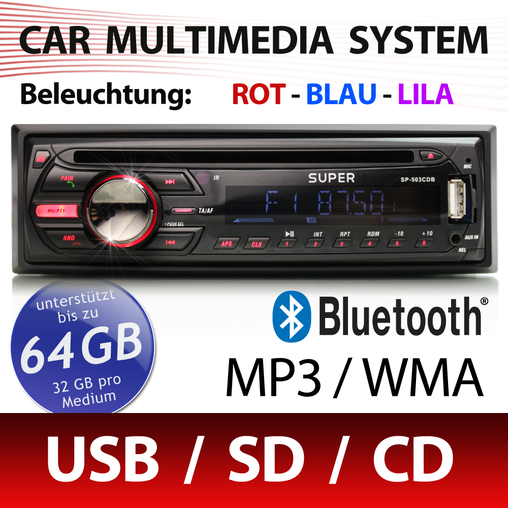 cd autoradio mit bluetooth usb sd sdhc aux in rds mp3 1din. Black Bedroom Furniture Sets. Home Design Ideas