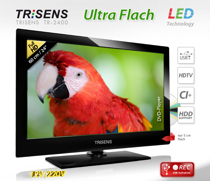 60cm 24 zoll led tv fernseher dvd player full hd usb videorecorder dvt. Black Bedroom Furniture Sets. Home Design Ideas
