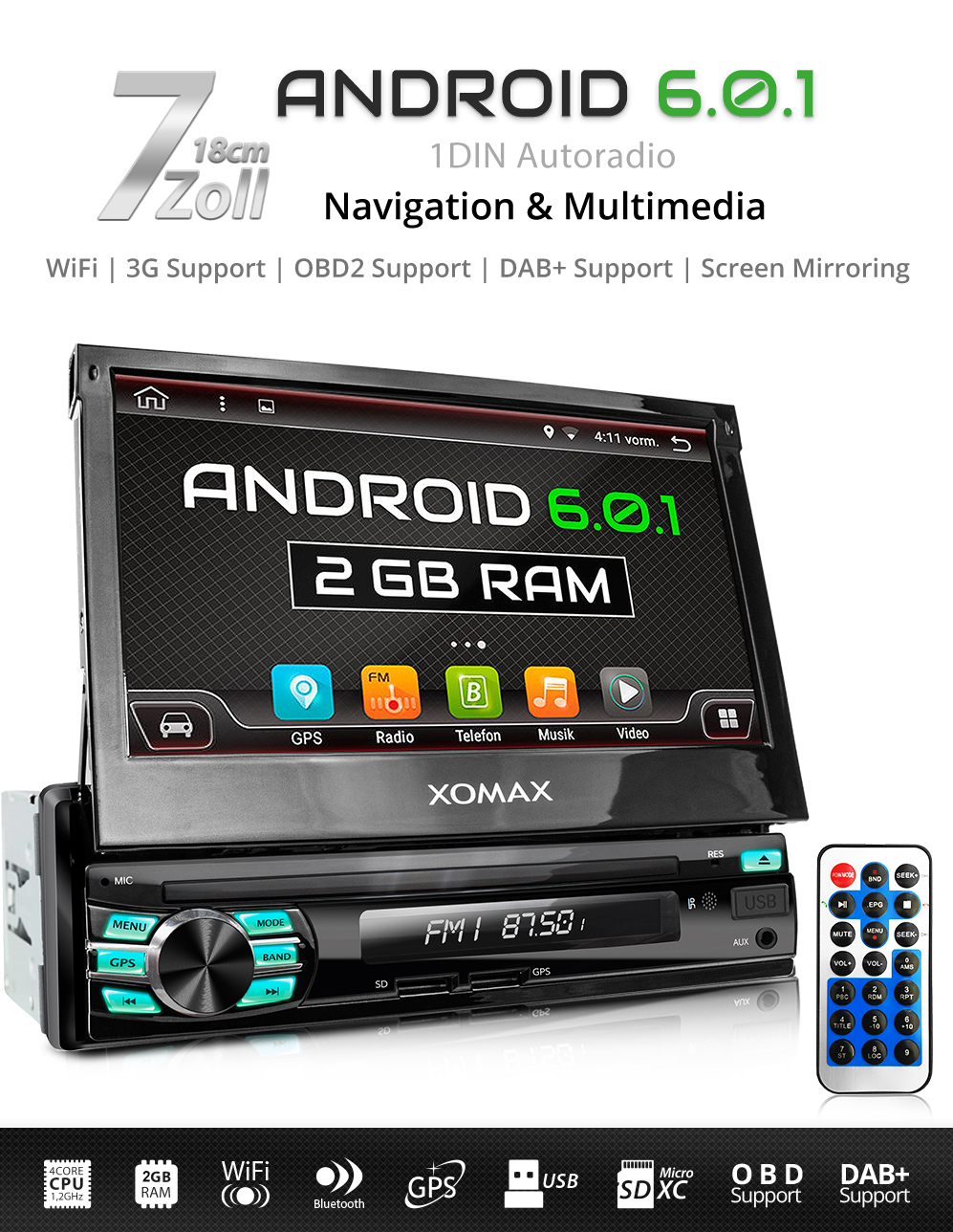 autoradio mit android 6 0 1 4core 2gb ram navi gps. Black Bedroom Furniture Sets. Home Design Ideas