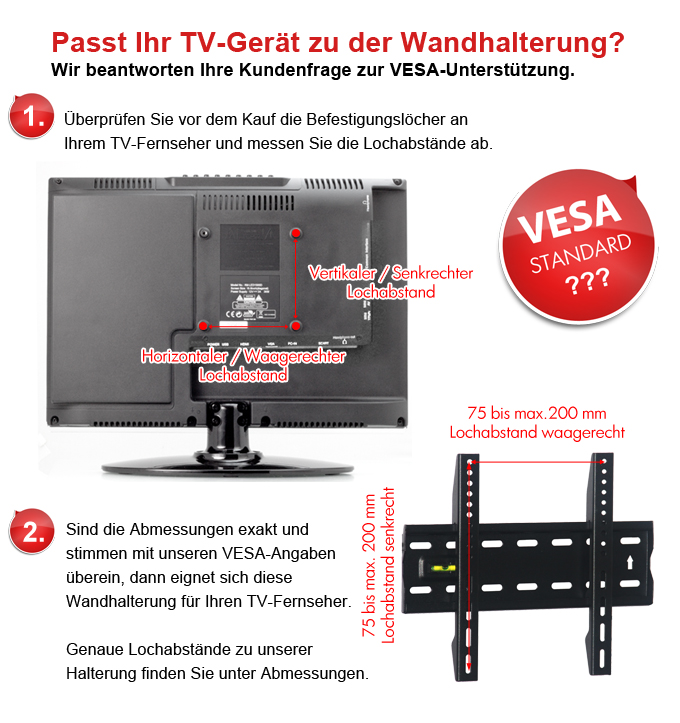 tv lcd led fernseher monitor wand halterung bis 42 zoll 40kg vesa 200 100 75 ebay. Black Bedroom Furniture Sets. Home Design Ideas
