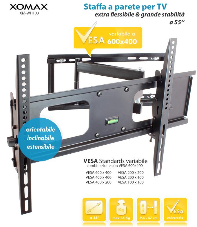 SUPPORTO STAFFA PARETE MURO TV LCD TFT LED PLASMA 32