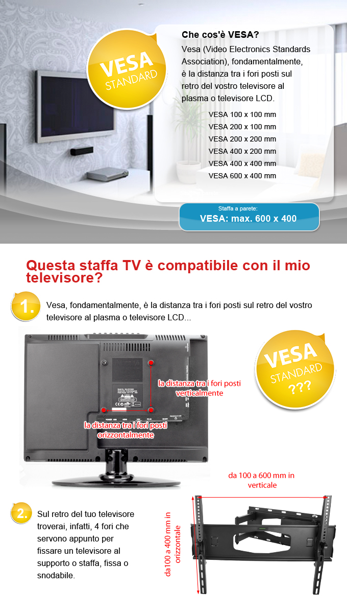 Staffa a parete WH106 per TV LED LCD PLASMA universale