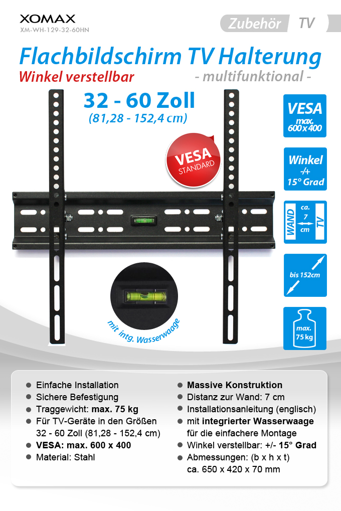 tv lcd led flachbildschirm 3d wandhalterung stahl 32 60 zoll 75kg vesa 600x400 ebay. Black Bedroom Furniture Sets. Home Design Ideas