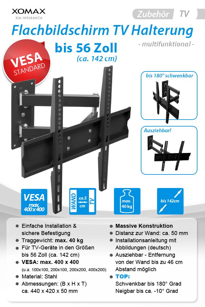 tv fernseher wand halterung bis 40kg 56 drehbar neigbar schwenkbar ausziehbar ebay. Black Bedroom Furniture Sets. Home Design Ideas