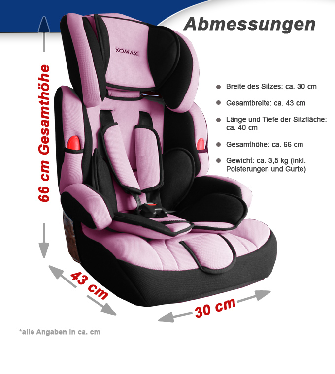 xomax xm 001 kindersitz autositz pink rosa klasse gruppe i. Black Bedroom Furniture Sets. Home Design Ideas