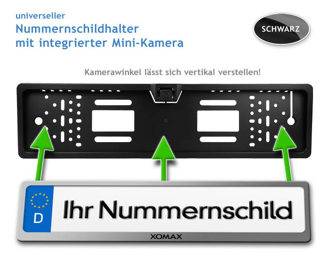 auto kfz farb r ckfahrkamera kennzeichen nummernschild halterung einparkhilfe. Black Bedroom Furniture Sets. Home Design Ideas