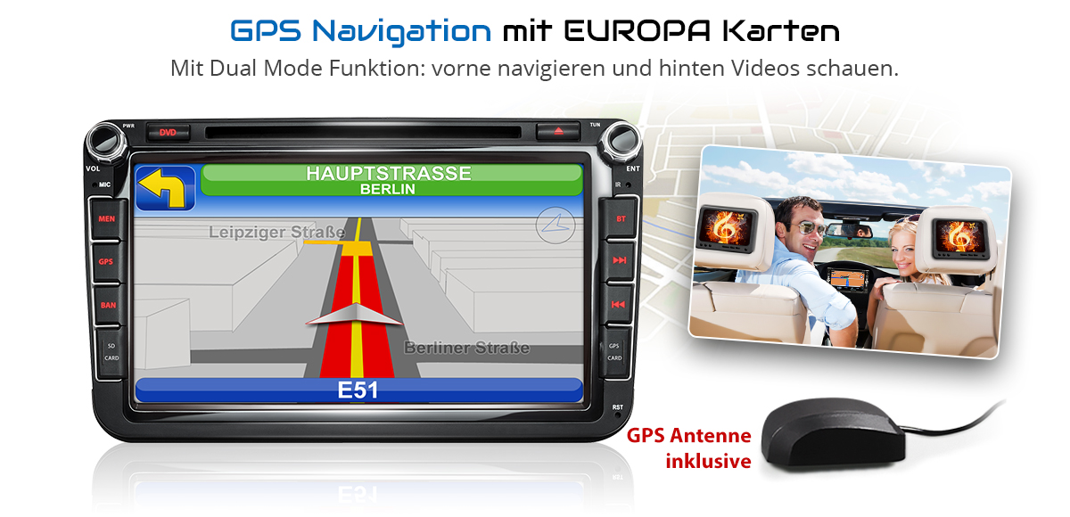 autoradio passend f r vw skoda seat mit navi gps. Black Bedroom Furniture Sets. Home Design Ideas