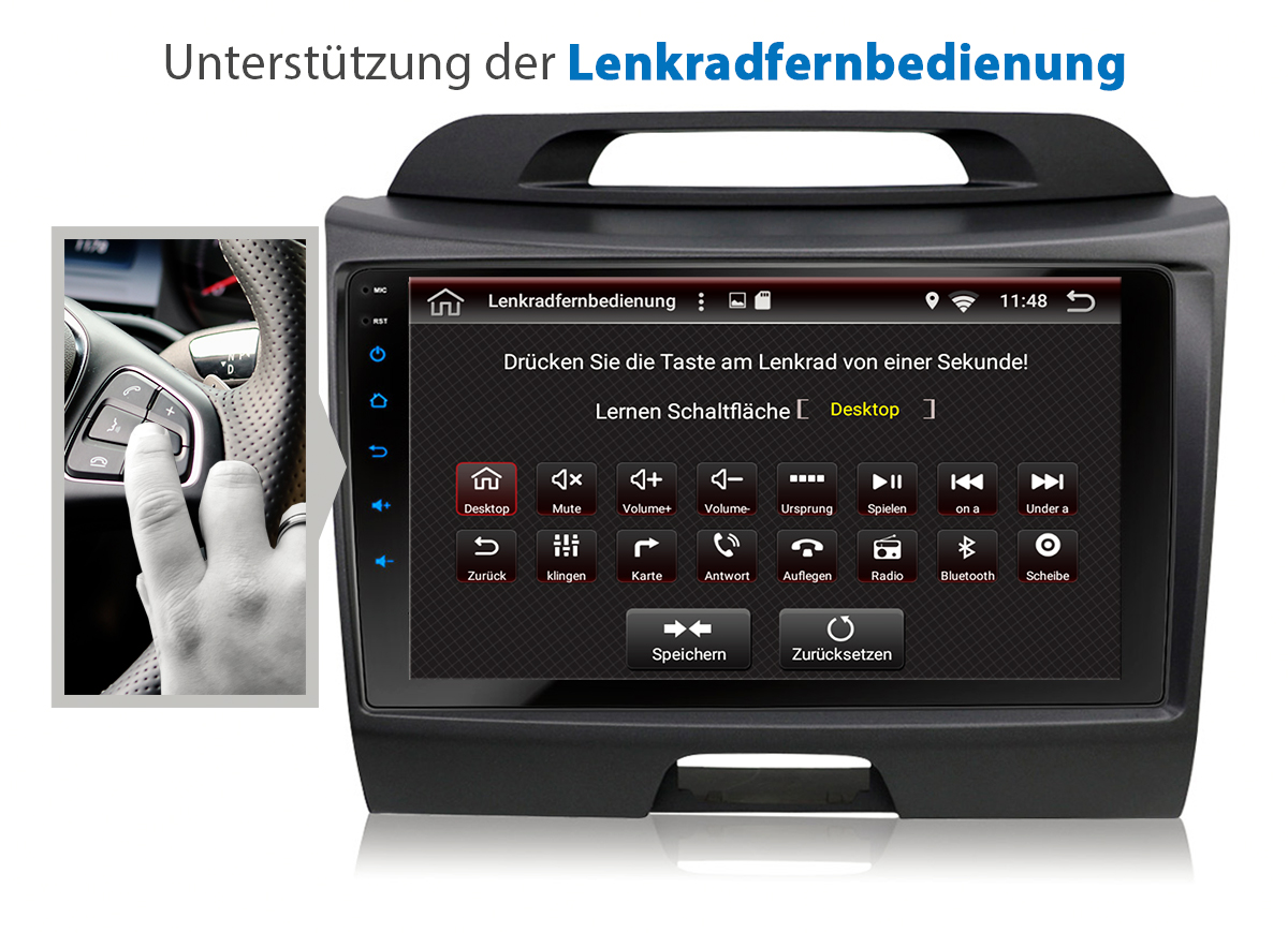 9 autoradio mit android 7 1 1 2gb passend f r kia sportage. Black Bedroom Furniture Sets. Home Design Ideas